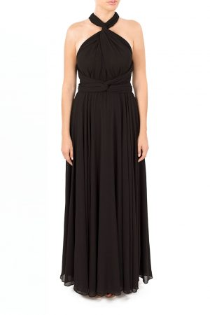 black multiway maxi dress in chiffon