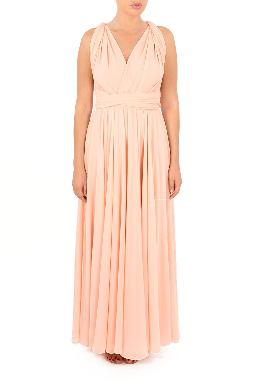 peach bridesmaid dresses in chiffon multiway maxi
