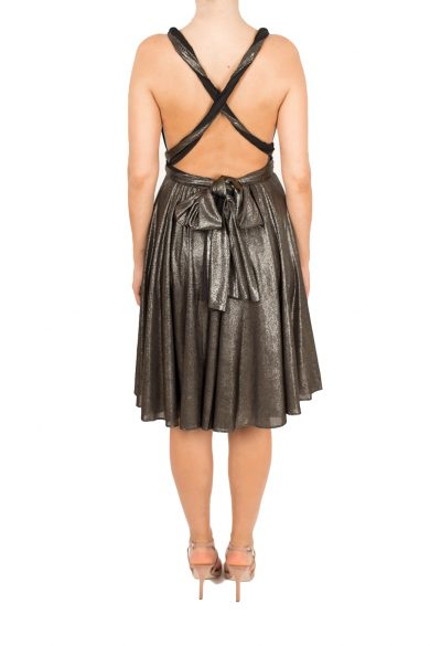 gold shimmer short dress lavalia back